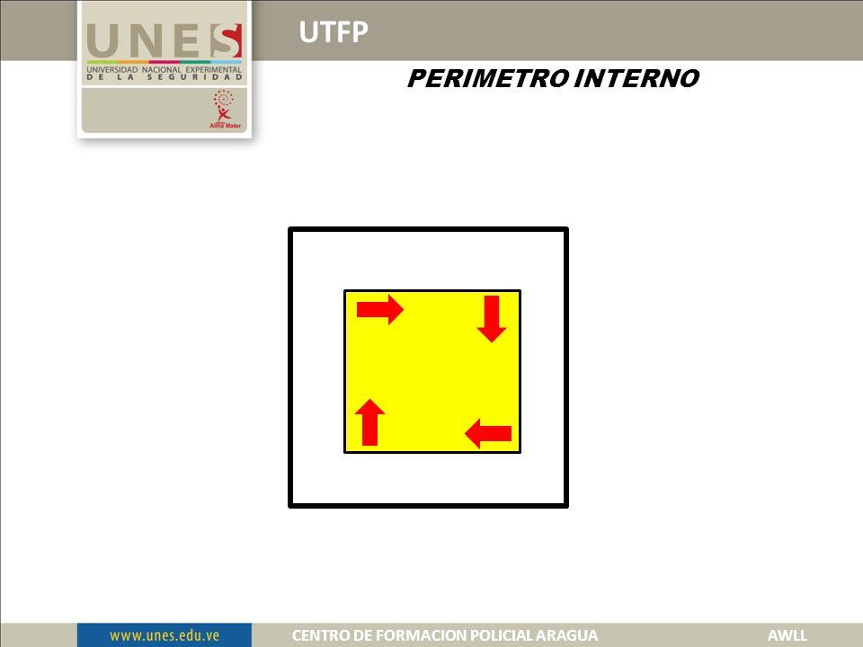 UTFP PERIMETRO INTERNO Es la ubicación en sitios estratégicos de las funcionarias o funcionarios policiales que permitan controlar las diferentes áreas de responsabilidad inmediata a la infraestructura donde se suscita el hecho.
