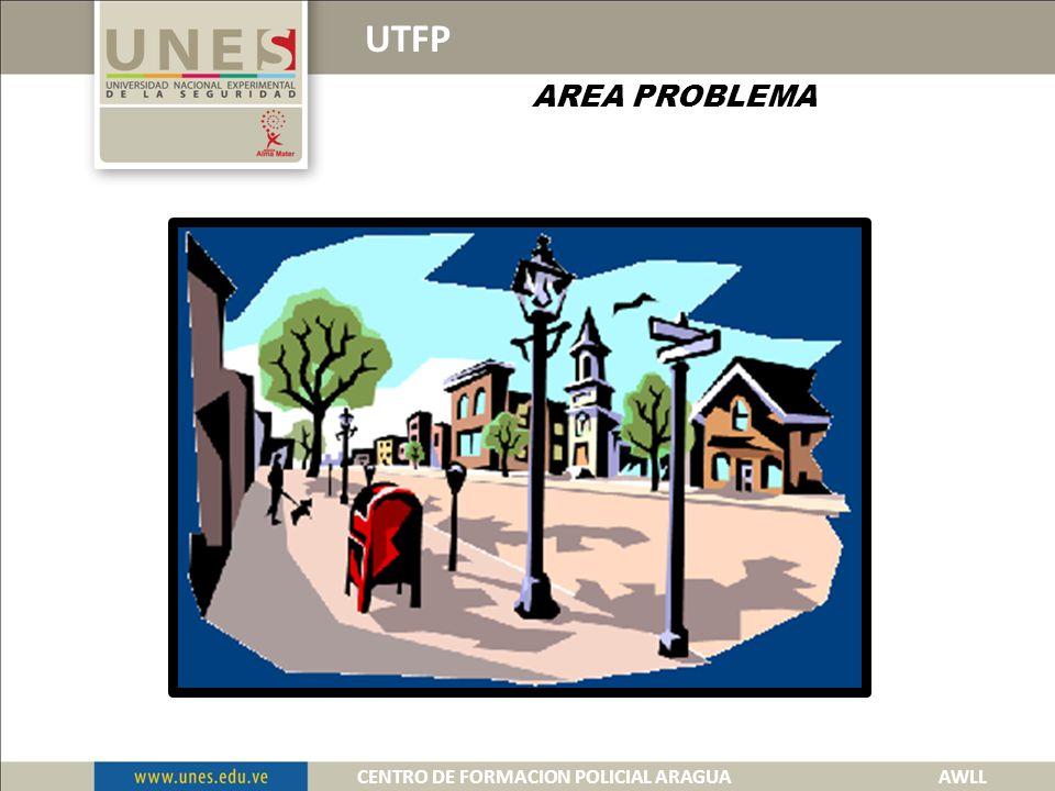 UTFP AREA PROBLEMA Es el lugar u objeto, dentro de un escenario que representa peligro o amenaza inminente para el funcionario, cabe destacar que dentro de esta se encuentran distintas áreas de responsabilidad.