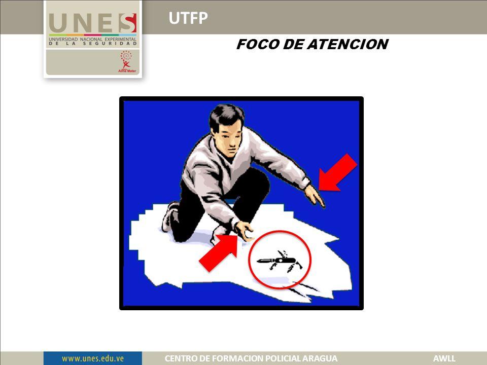 UTFP FOCO DE ATENCION Es establecer la observación hacia las manos de una persona que representa una amenaza o riesgo.