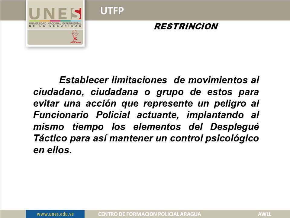 UTFP DISTANCIA Es la aplicación de un espacio entre el funcionario y la persona u objeto que represente un amenaza.