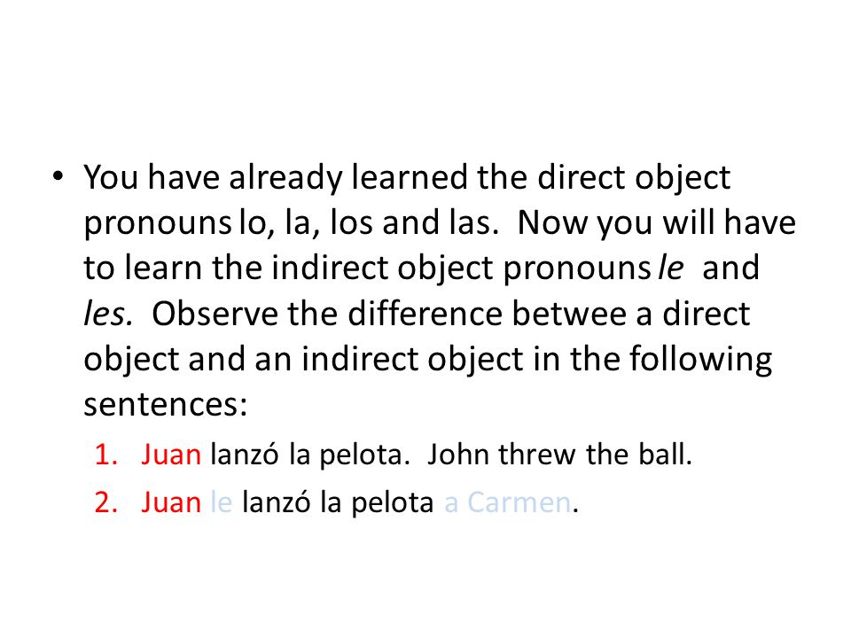 You have already learned the direct object pronouns lo, la, los and las.