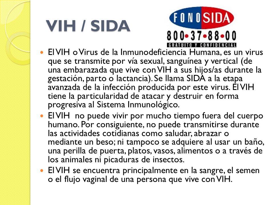 VIH / SIDA El VIH o Virus de la Inmunodeficiencia Humana, es un virus que se transmite por vía sexual, sanguínea y vertical (de una embarazada que vive con VIH a sus hijos/as durante la gestación, parto o lactancia).
