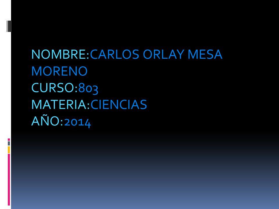 NOMBRE:CARLOS ORLAY MESA MORENO CURSO:803 MATERIA:CIENCIAS AÑO:2014