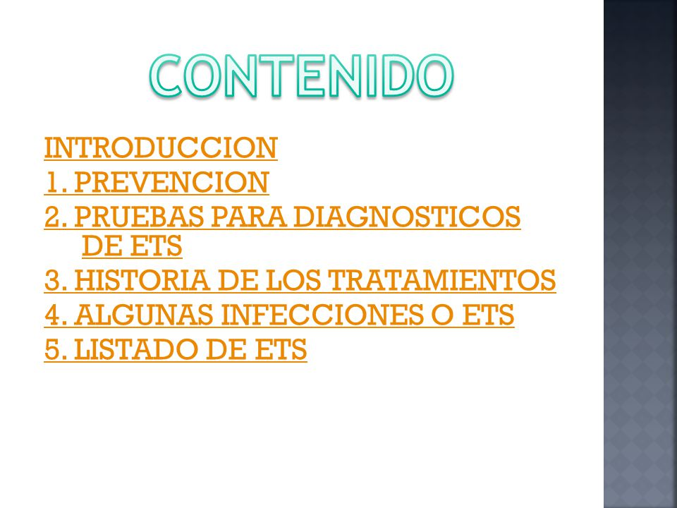 INTRODUCCION 1.PREVENCION 2. PRUEBAS PARA DIAGNOSTICOS DE ETS 3.