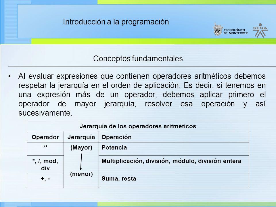 jerarquia operacion uso parentesis aritmetica:
