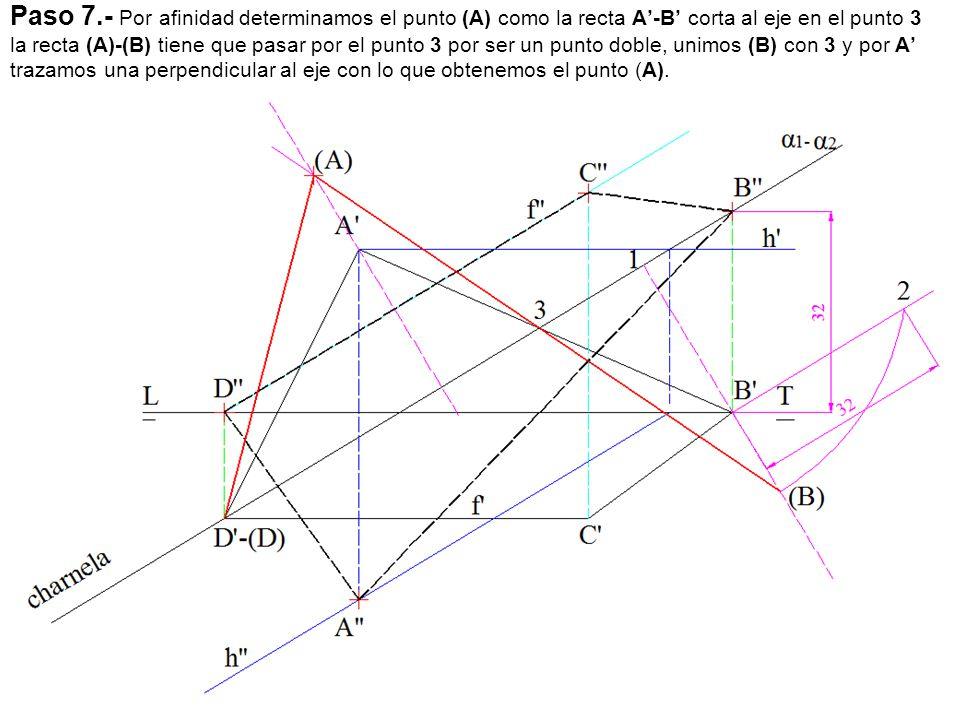 Paso 7.- Por afinidad determinamos el punto (A) como la recta A'-B' corta al eje en el punto 3 la recta (A)-(B) tiene que pasar por el punto 3 por ser un punto doble, unimos (B) con 3 y por A' trazamos una perpendicular al eje con lo que obtenemos el punto (A).