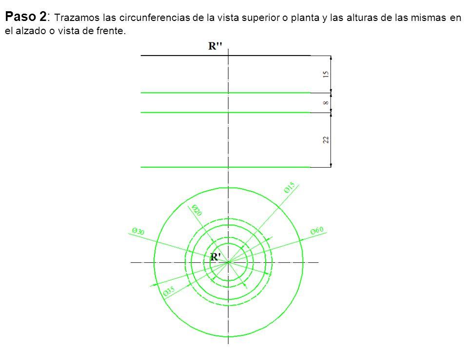 Paso 2: Trazamos las circunferencias de la vista superior o planta y las alturas de las mismas en el alzado o vista de frente.