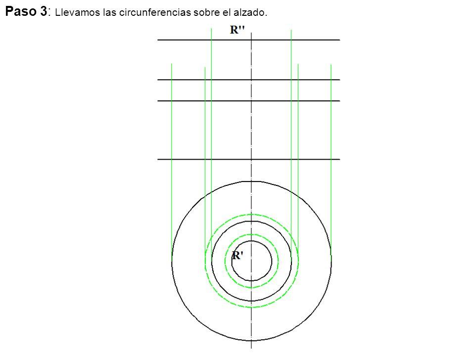 Paso 3: Llevamos las circunferencias sobre el alzado.