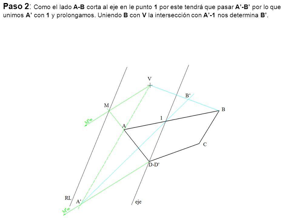 Paso 2: Como el lado A-B corta al eje en le punto 1 por este tendrá que pasar A'-B' por lo que unimos A' con 1 y prolongamos.