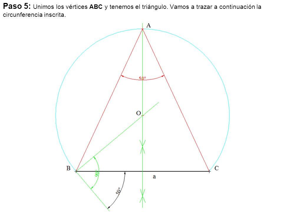Paso 5: Unimos los vértices ABC y tenemos el triángulo.