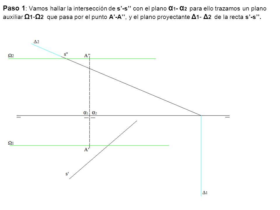 Paso 1 : Vamos hallar la intersección de s'-s'' con el plano α 1 - α 2 para ello trazamos un plano auxiliar Ω 1 - Ω 2 que pasa por el punto A'-A'', y el plano proyectante Δ 1 - Δ 2 de la recta s'-s''.