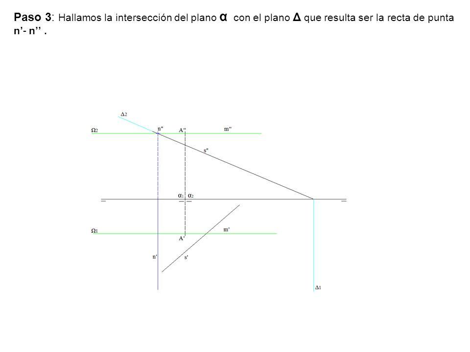 Paso 3: Hallamos la intersección del plano α con el plano Δ que resulta ser la recta de punta n'- n''.