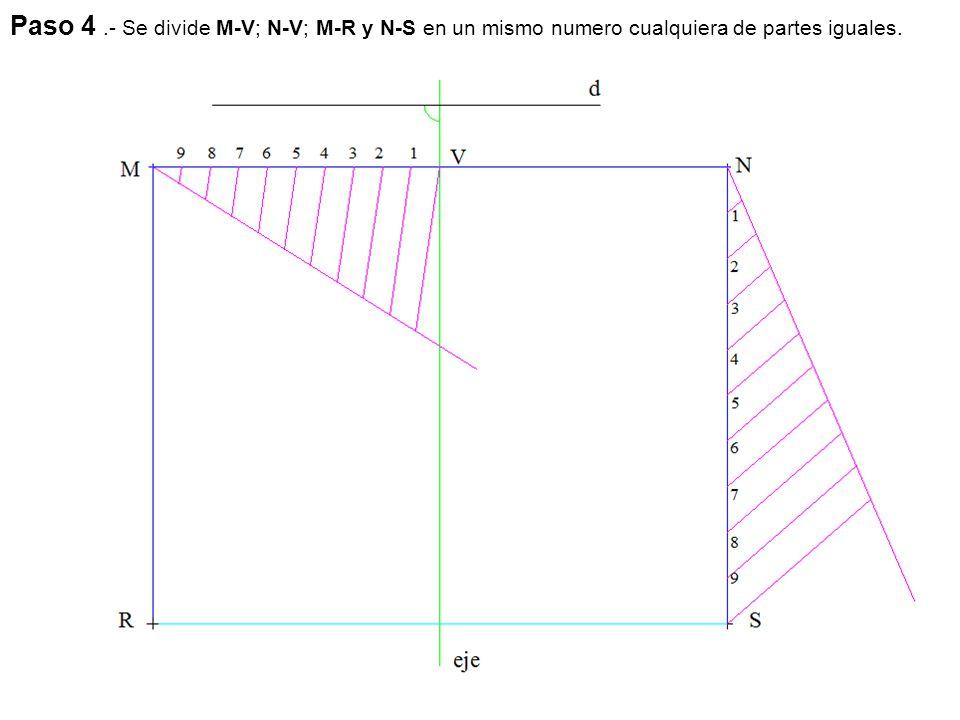 Paso 4.- Se divide M-V; N-V; M-R y N-S en un mismo numero cualquiera de partes iguales.
