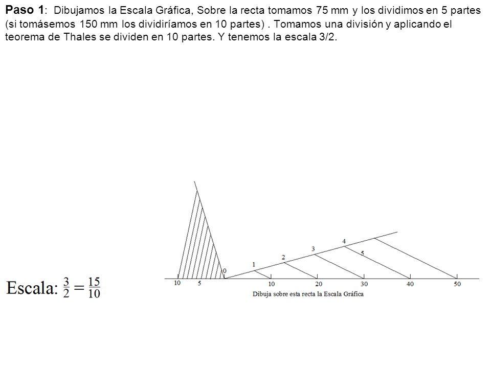 Paso 1 : Dibujamos la Escala Gráfica, Sobre la recta tomamos 75 mm y los dividimos en 5 partes (si tomásemos 150 mm los dividiríamos en 10 partes).