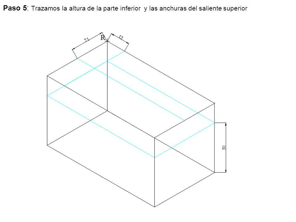 Paso 5: Trazamos la altura de la parte inferior y las anchuras del saliente superior