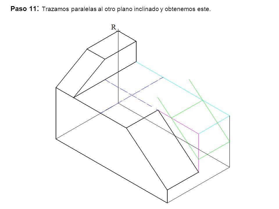 Paso 11 : Trazamos paralelas al otro plano inclinado y obtenemos este.