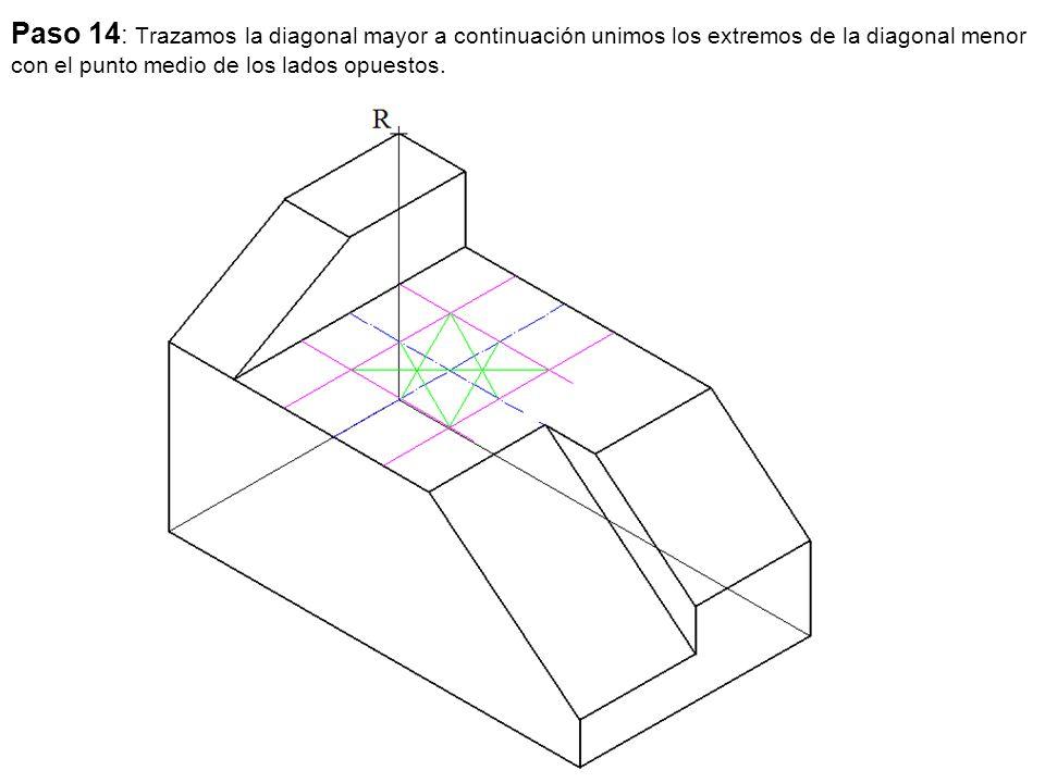 Paso 14 : Trazamos la diagonal mayor a continuación unimos los extremos de la diagonal menor con el punto medio de los lados opuestos.