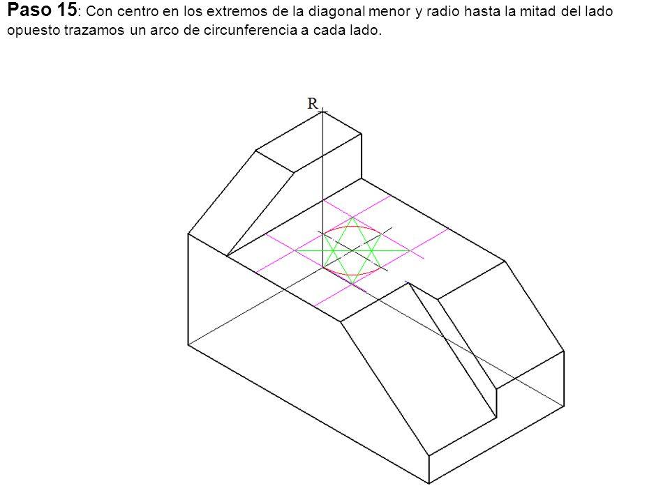 Paso 15 : Con centro en los extremos de la diagonal menor y radio hasta la mitad del lado opuesto trazamos un arco de circunferencia a cada lado.