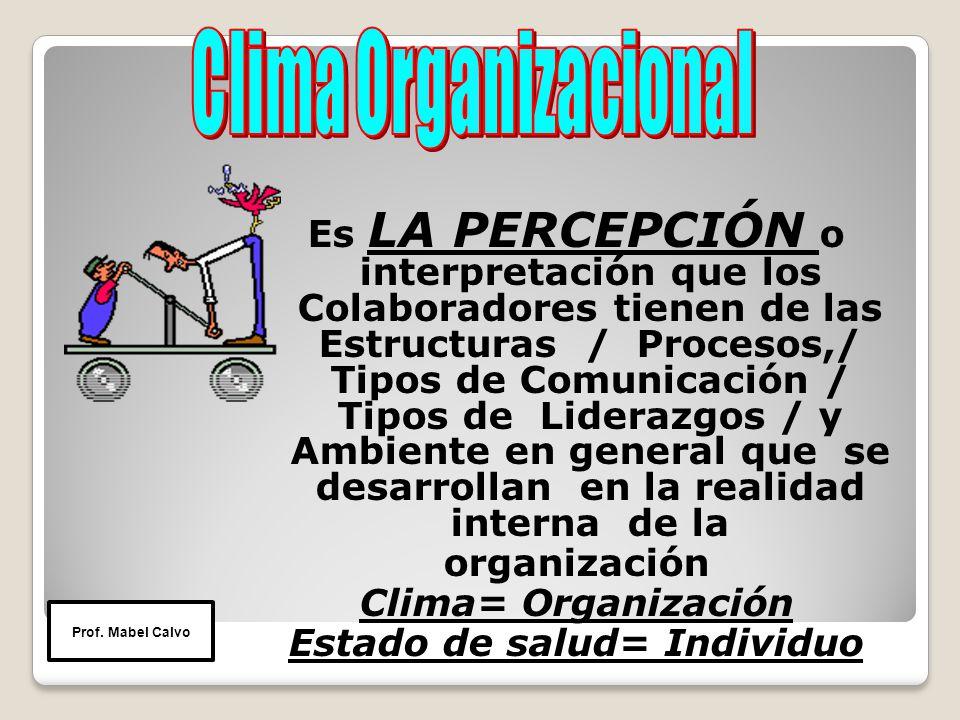 Es LA PERCEPCIÓN o interpretación que los Colaboradores tienen de las Estructuras / Procesos,/ Tipos de Comunicación / Tipos de Liderazgos / y Ambiente en general que se desarrollan en la realidad interna de la organización Clima= Organización Estado de salud= Individuo Prof.
