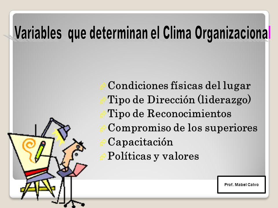  Condiciones físicas del lugar  Tipo de Dirección (liderazgo)  Tipo de Reconocimientos  Compromiso de los superiores  Capacitación  Políticas y valores Prof.