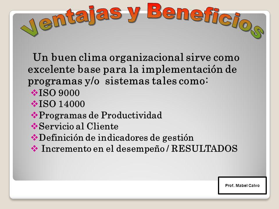 Un buen clima organizacional sirve como excelente base para la implementación de programas y/o sistemas tales como:  ISO 9000  ISO 14000  Programas de Productividad  Servicio al Cliente  Definición de indicadores de gestión  Incremento en el desempeño / RESULTADOS Prof.