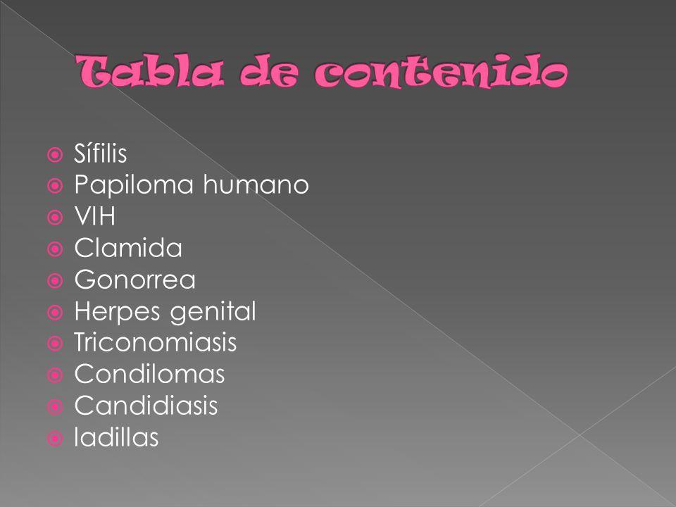  Sífilis  Papiloma humano  VIH  Clamida  Gonorrea  Herpes genital  Triconomiasis  Condilomas  Candidiasis  ladillas