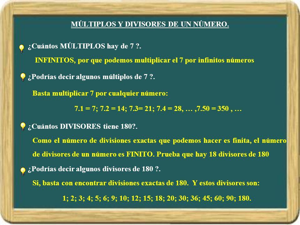 MÚLTIPLOS Y DIVISORES DE UN NÚMERO.¿Cuántos MÚLTIPLOS hay de 7 ?.
