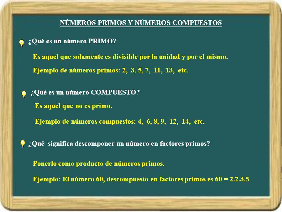 NÚMEROS PRIMOS Y NÚMEROS COMPUESTOS ¿Qué es un número PRIMO.