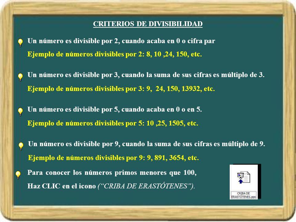 CRITERIOS DE DIVISIBILIDAD Un número es divisible por 2, cuando acaba en 0 o cifra par Ejemplo de números divisibles por 2: 8, 10,24, 150, etc.