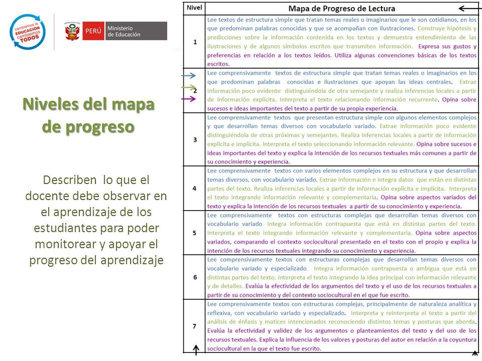 Niveles del mapa de progreso Describen lo que el docente debe observar en el aprendizaje de los estudiantes para poder monitorear y apoyar el progreso