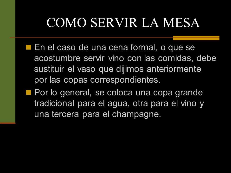 En el caso de una cena formal, o que se acostumbre servir vino con las comidas, debe sustituir el vaso que dijimos anteriormente por las copas correspondientes.