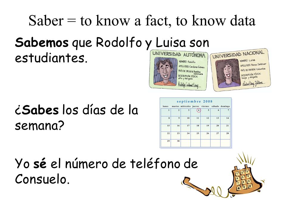 Saber = to know a fact, to know data Sabemos que Rodolfo y Luisa son estudiantes.