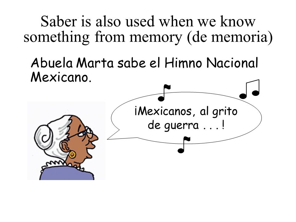 Saber is also used when we know something from memory (de memoria) Abuela Marta sabe el Himno Nacional Mexicano.