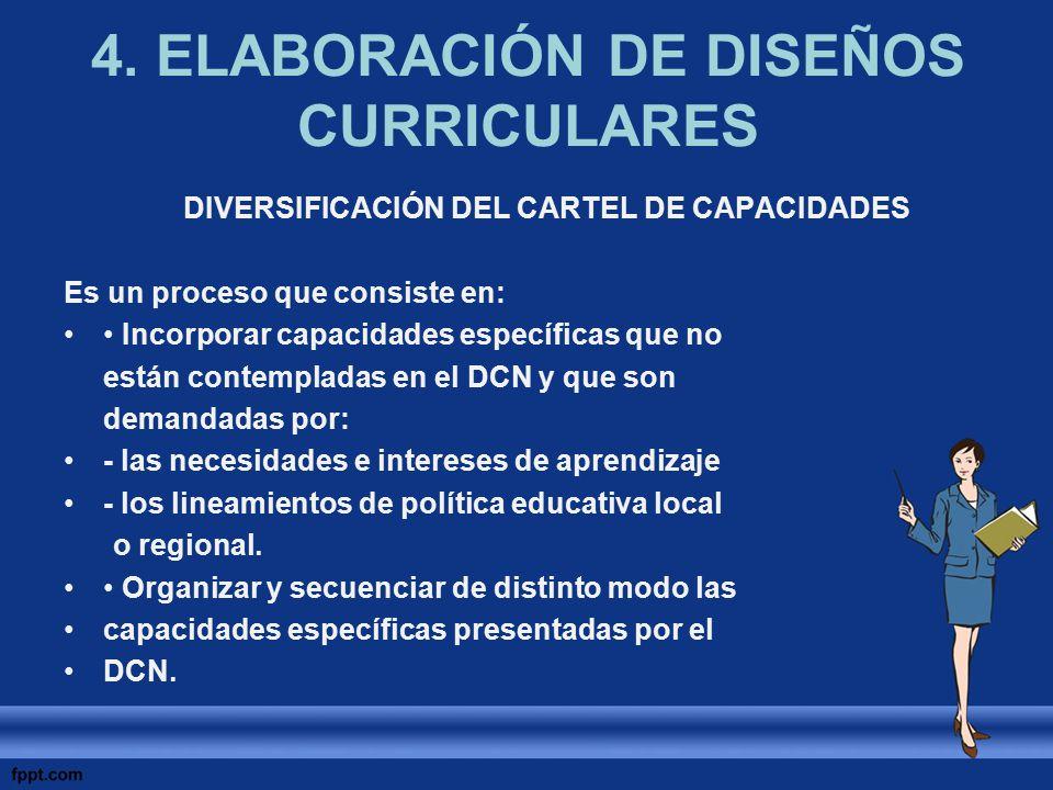 4. ELABORACIÓN DE DISEÑOS CURRICULARES DIVERSIFICACIÓN DEL CARTEL DE CAPACIDADES Es un proceso que consiste en: Incorporar capacidades específicas que