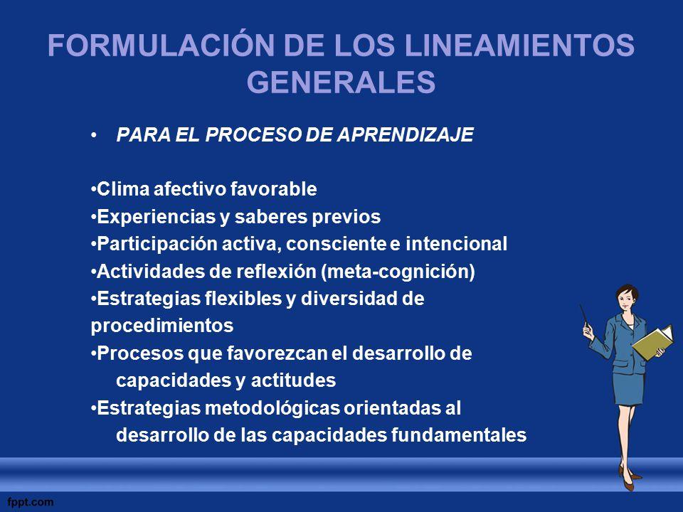 FORMULACIÓN DE LOS LINEAMIENTOS GENERALES PARA EL PROCESO DE APRENDIZAJE Clima afectivo favorable Experiencias y saberes previos Participación activa,
