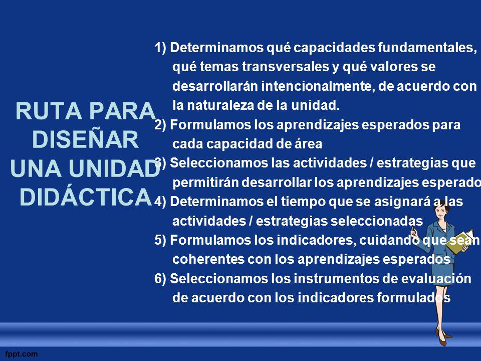 RUTA PARA DISEÑAR UNA UNIDAD DIDÁCTICA 1) Determinamos qué capacidades fundamentales, qué temas transversales y qué valores se desarrollarán intencion