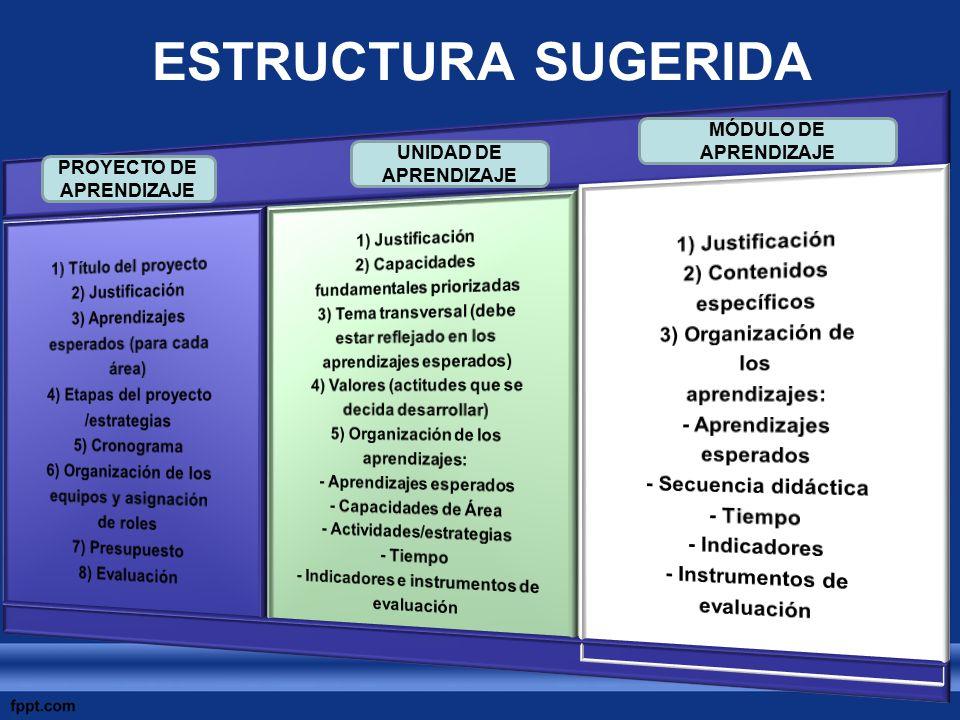 ESTRUCTURA SUGERIDA PROYECTO DE APRENDIZAJE UNIDAD DE APRENDIZAJE MÓDULO DE APRENDIZAJE