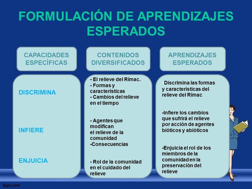 FORMULACIÓN DE APRENDIZAJES ESPERADOS CAPACIDADES ESPECÍFICAS CONTENIDOS DIVERSIFICADOS APRENDIZAJES ESPERADOS DISCRIMINA INFIERE ENJUICIA - El reliev