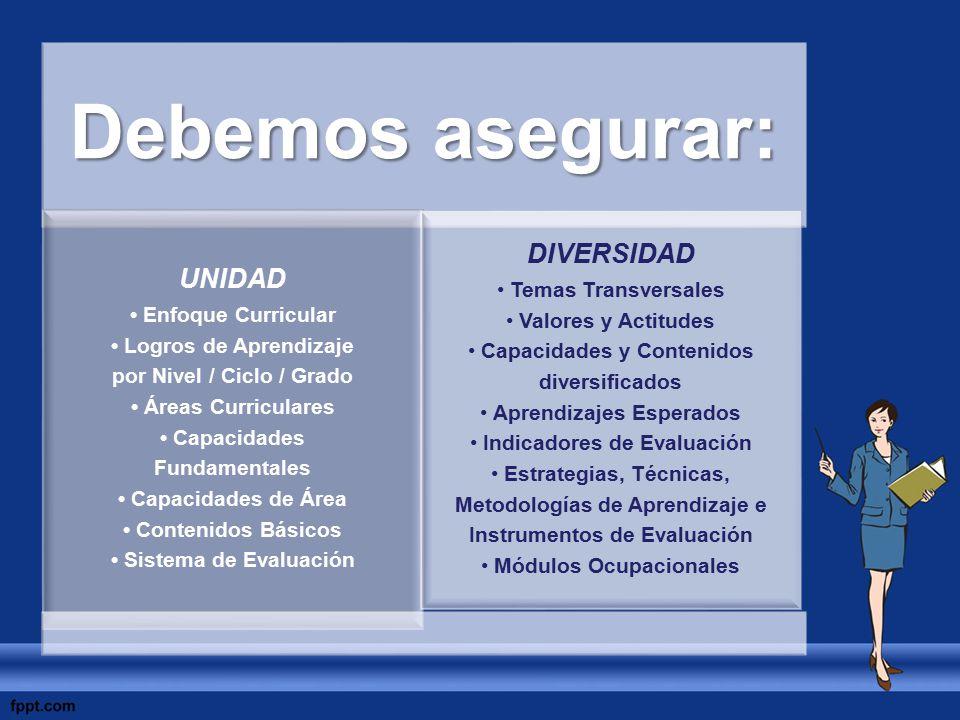 Debemos asegurar: UNIDAD Enfoque Curricular Logros de Aprendizaje por Nivel / Ciclo / Grado Áreas Curriculares Capacidades Fundamentales Capacidades d