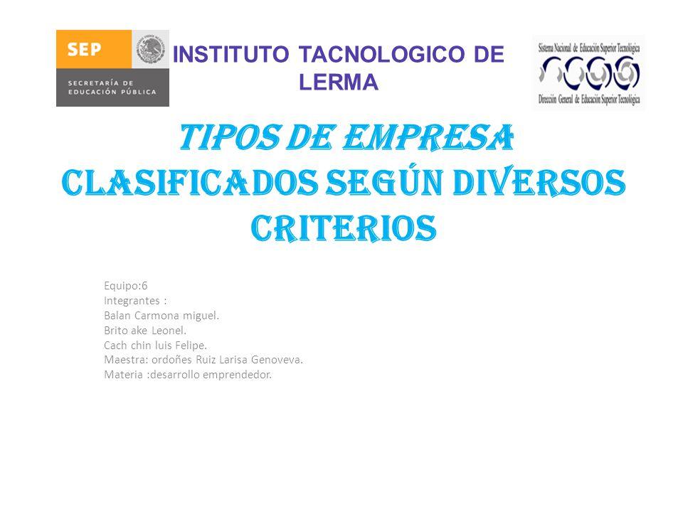 Tipos de Empresa Clasificados Según Diversos Criterios Equipo:6 Integrantes : Balan Carmona miguel.