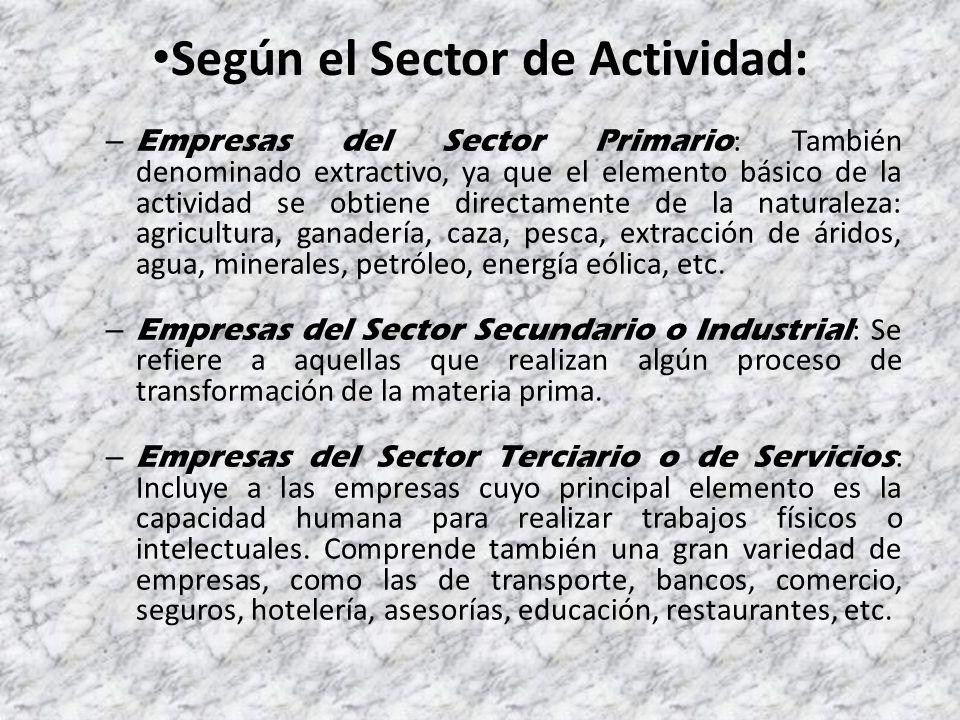Según el Sector de Actividad: – Empresas del Sector Primario : También denominado extractivo, ya que el elemento básico de la actividad se obtiene directamente de la naturaleza: agricultura, ganadería, caza, pesca, extracción de áridos, agua, minerales, petróleo, energía eólica, etc.