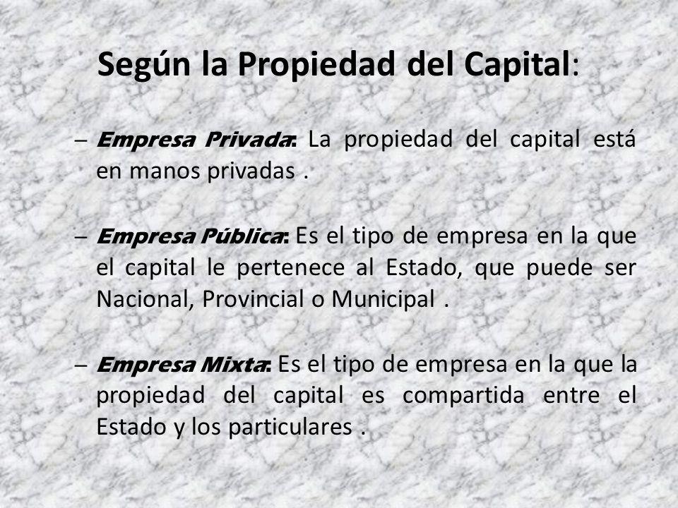 Según la Propiedad del Capital: – Empresa Privada: La propiedad del capital está en manos privadas.