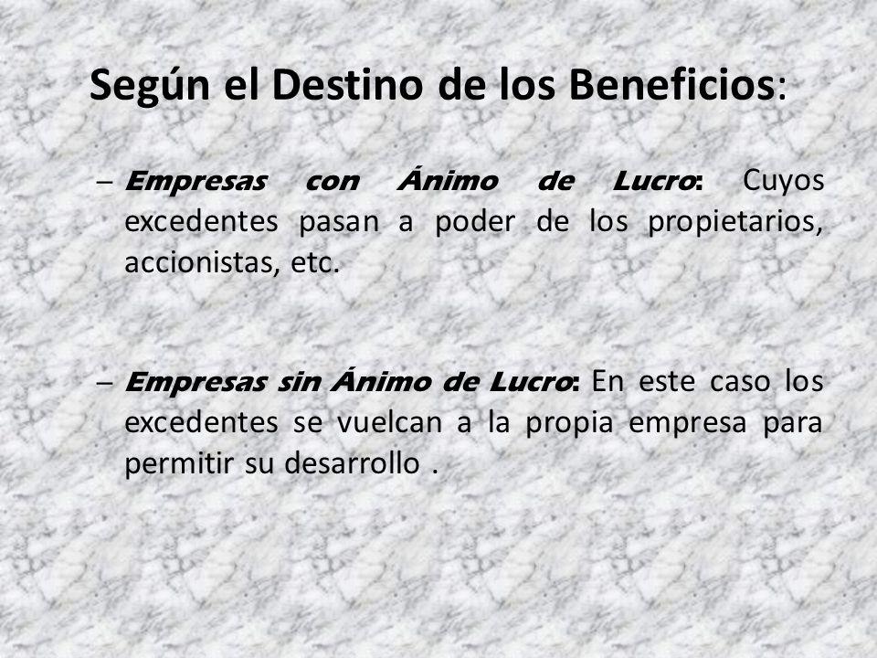 Según el Destino de los Beneficios: – Empresas con Ánimo de Lucro: Cuyos excedentes pasan a poder de los propietarios, accionistas, etc.