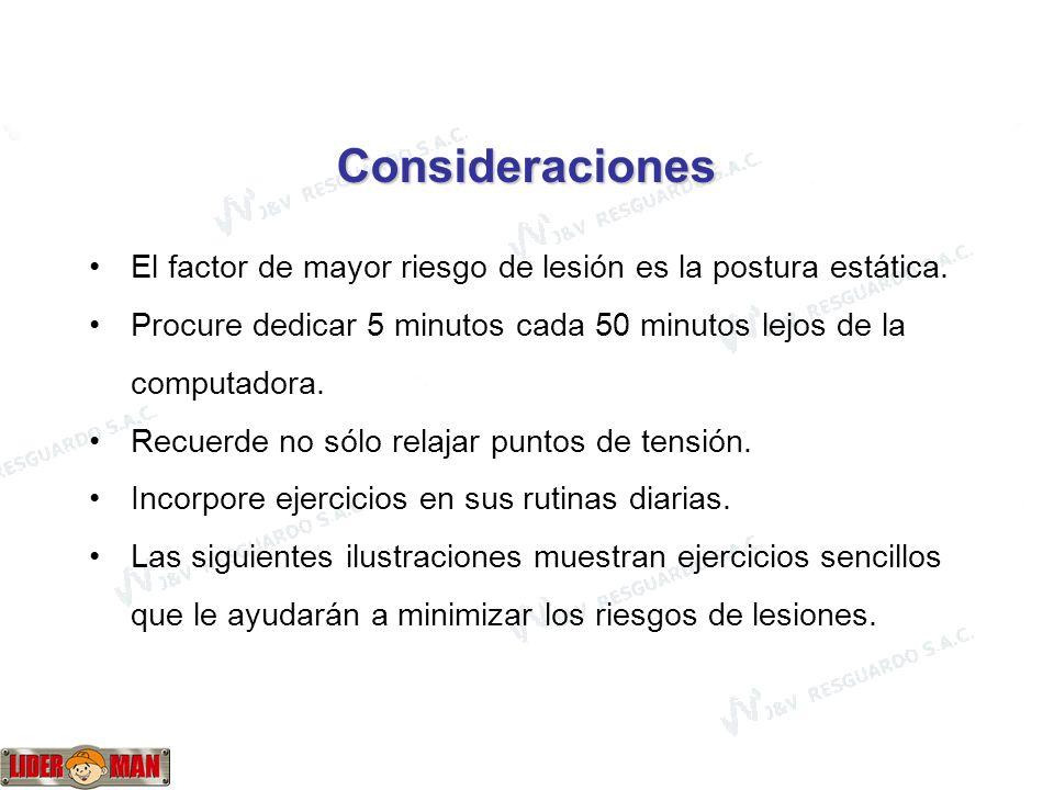 www.liderman.com.pe Consideraciones El factor de mayor riesgo de lesión es la postura estática.