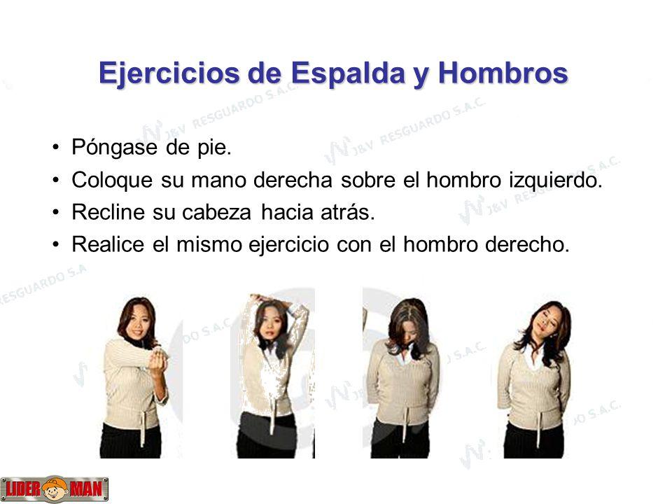 www.liderman.com.pe Ejercicios de Espalda y Hombros Póngase de pie.
