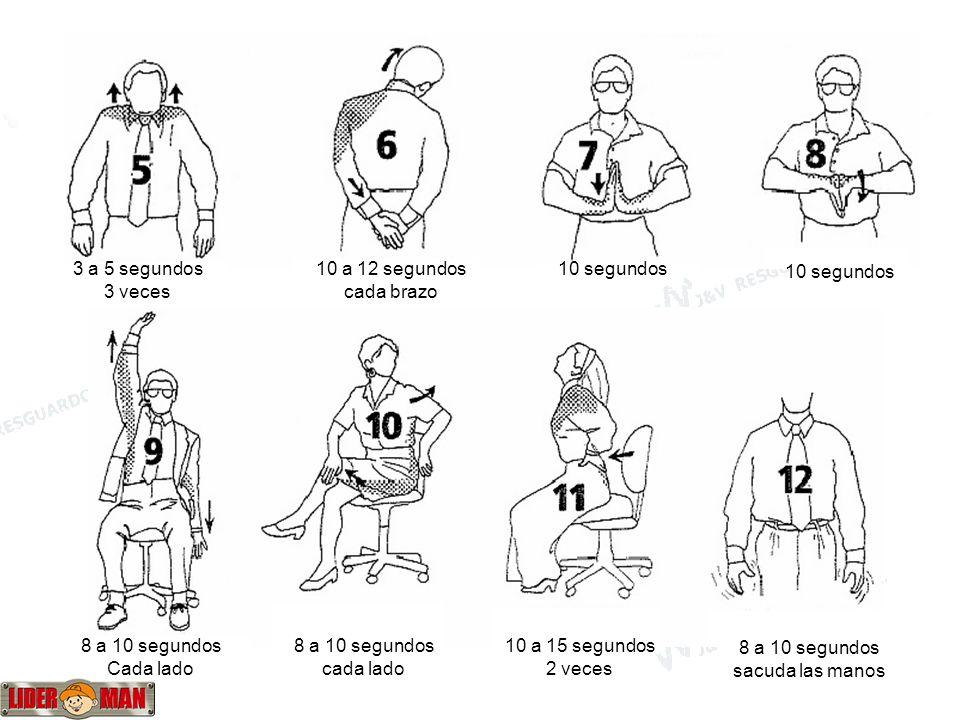 www.liderman.com.pe 3 a 5 segundos 3 veces 10 a 12 segundos cada brazo 10 segundos 8 a 10 segundos Cada lado 8 a 10 segundos cada lado 10 a 15 segundo