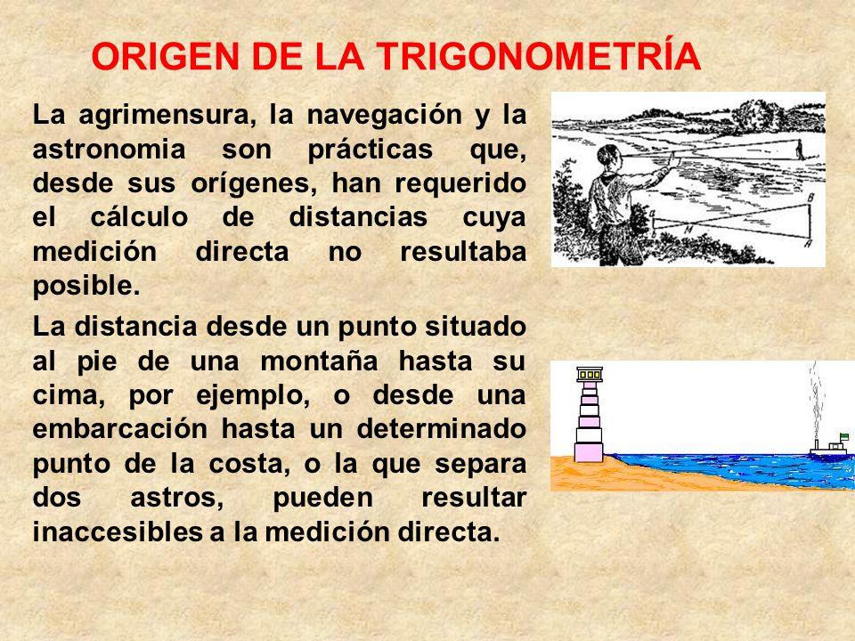 ORIGEN DE LA TRIGONOMETRÍA La agrimensura, la navegación y la astronomia son prácticas que, desde sus orígenes, han requerido el cálculo de distancias cuya medición directa no resultaba posible.