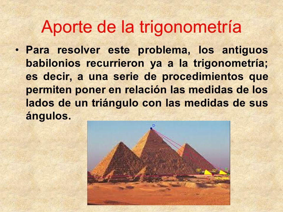 Aporte de la trigonometría Para resolver este problema, los antiguos babilonios recurrieron ya a la trigonometría; es decir, a una serie de procedimientos que permiten poner en relación las medidas de los lados de un triángulo con las medidas de sus ángulos.