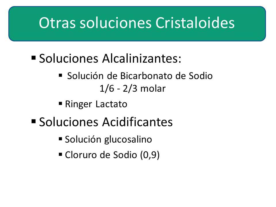  Soluciones Alcalinizantes:  Solución de Bicarbonato de Sodio 1/6 - 2/3 molar  Ringer Lactato  Soluciones Acidificantes  Solución glucosalino  C