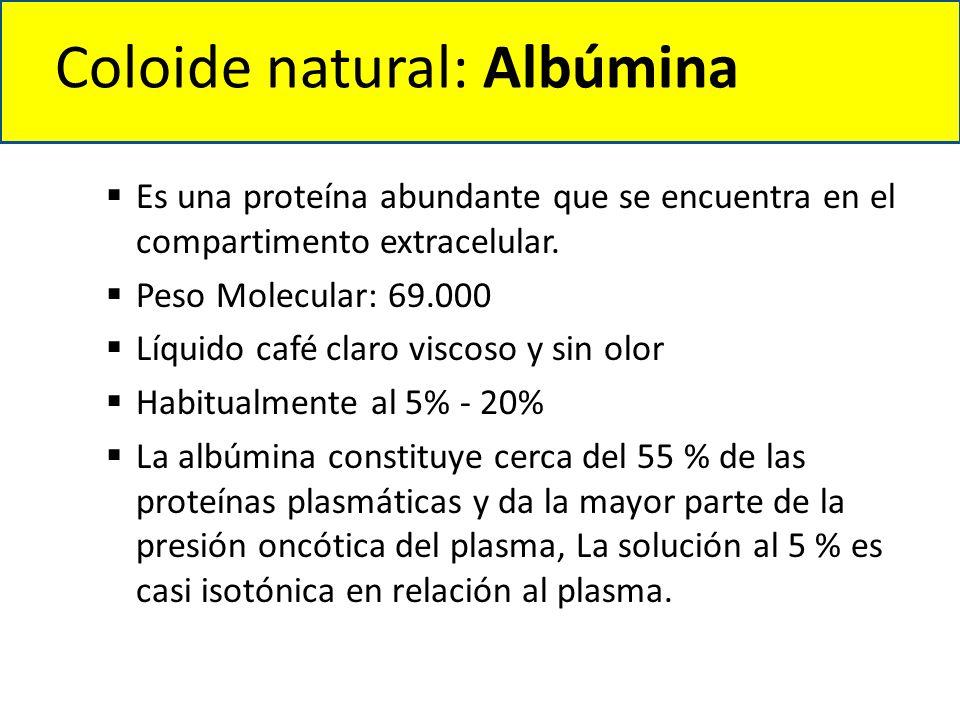Coloide natural: Albúmina  Es una proteína abundante que se encuentra en el compartimento extracelular.  Peso Molecular: 69.000  Líquido café claro